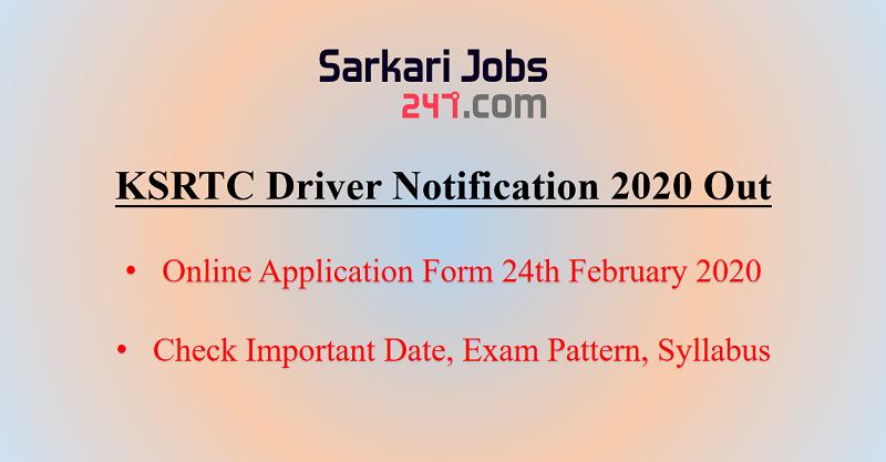 KSRTC Driver Notification 2020