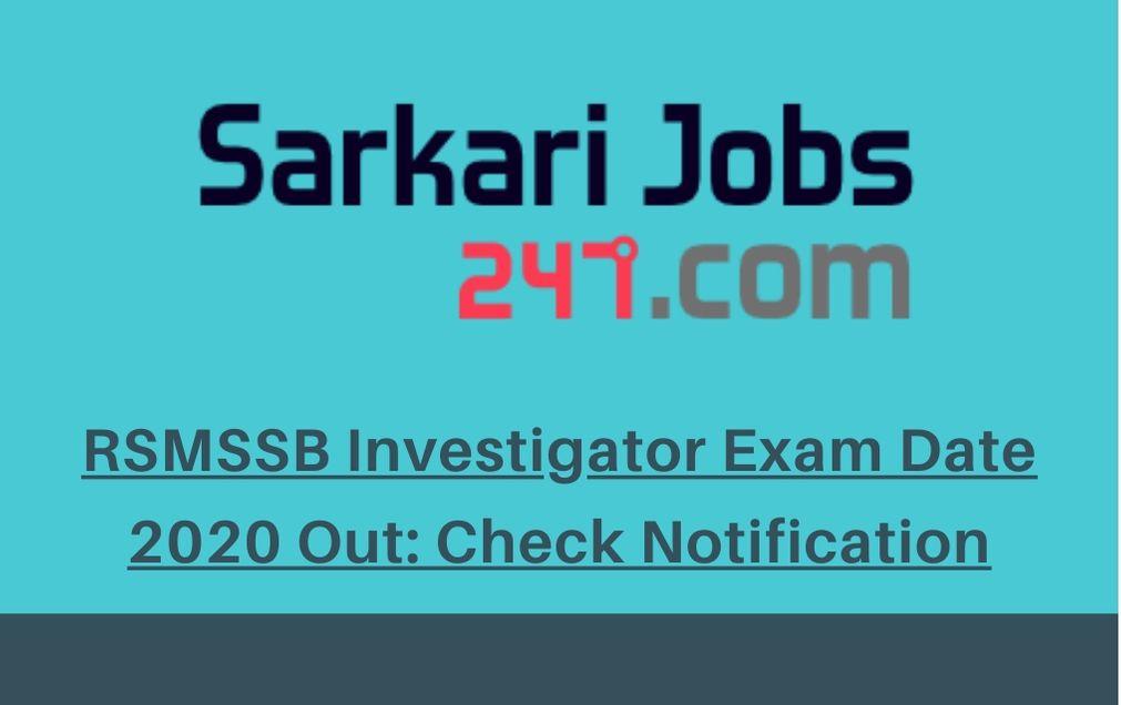 RSMSSB-Investigator-Exam-Date-2020