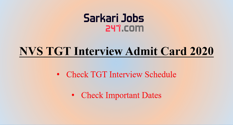 NVS TGT Interview Schedule 2020 Out: Check Schedule_30.1