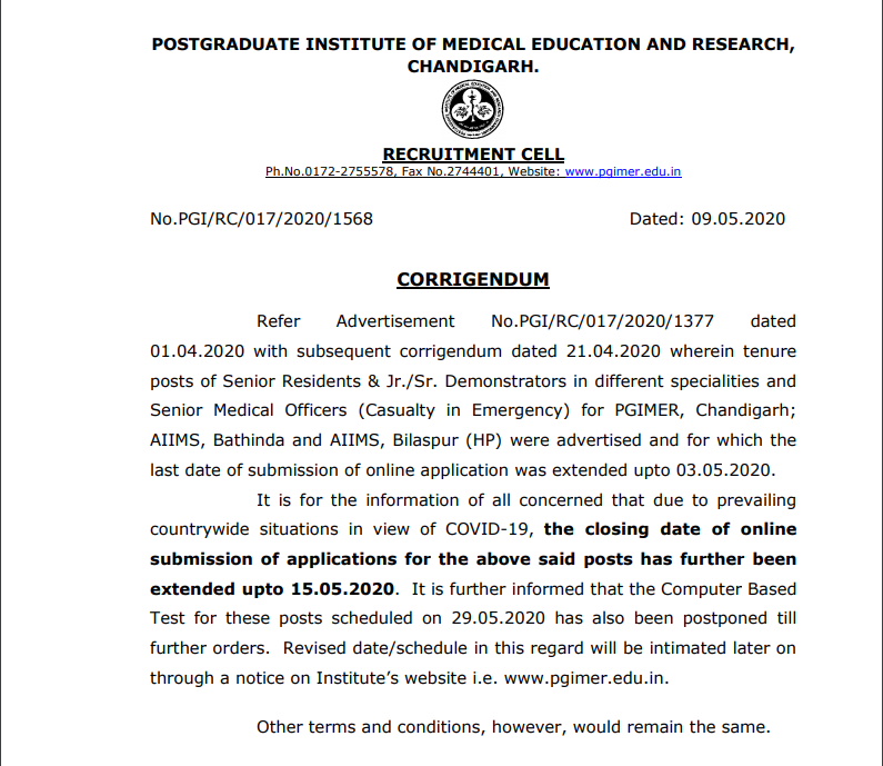 PGIMER Recruitment Notification 2020 Out: Last Date Extended_40.1