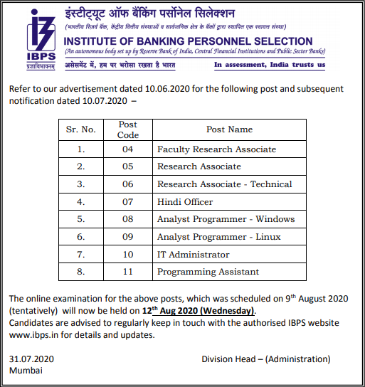 IBPS Recruitment 2020: Check Revised Date For 29 Vacancies Of IBPS_40.1