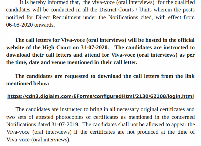 Telangana High Court Interview Admit Card 2020 Out: Download Call Letter For Steno, Typist & Copyist Posts_40.1
