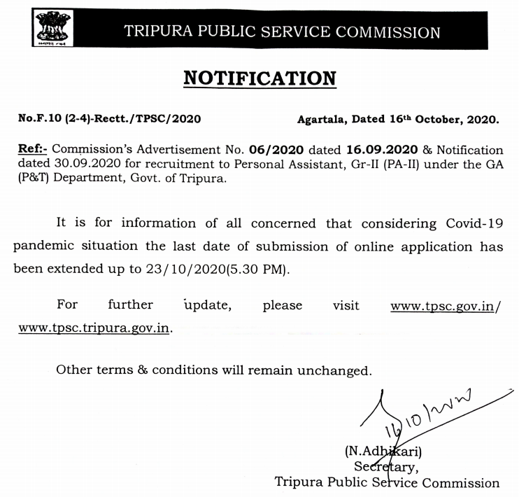 TPSC Recruitment 2020: Last Date extended For 100 Vacancies of PA in Group C_40.1