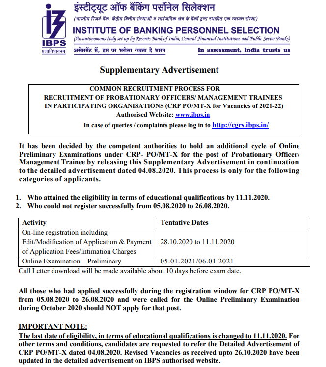 IBPS PO 2020 Registration Re-opened: Supplementary Application with Increased Vacancies_40.1