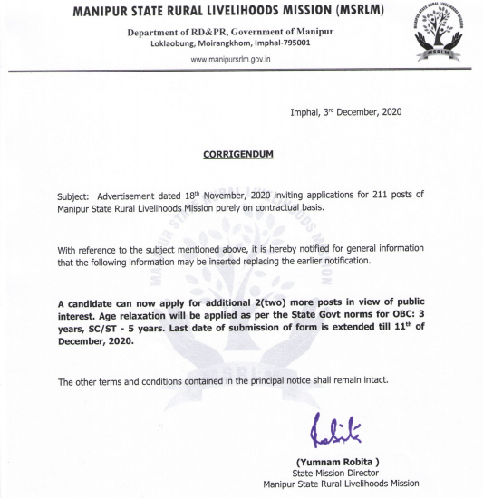 MSRLM Block Coordinator Recruitment 2020: Last Date Extended For 211 Vacancies_40.1