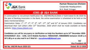 JK Banking Associate Admit Card 2020: Check Online Clerical Exam Dates_40.1