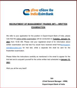 Exim Bank Recruitment 2020: Exam Date Released For Written Test_40.1