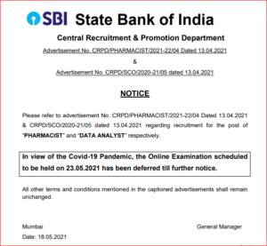 SBI Pharmacist Recruitment 2021: Exam Postponed For 67 Clerical Pharmacist Posts_40.1
