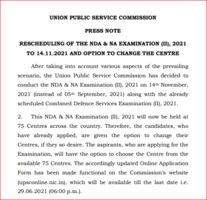 UPSC NDA Exam Date
