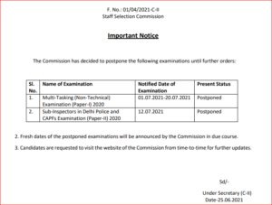 SSC Exam Date 2021 Postponed For MTS & CPO SI: Check Official Notice_40.1