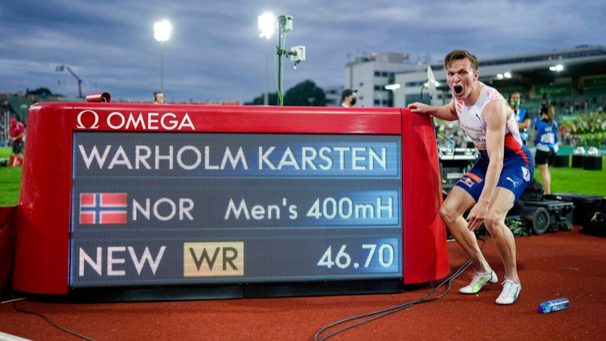 Norway's Karsten Warholm breaks men's 400 metres hurdles world record| പുരുഷന്മാരുടെ 400 മീറ്റർ ഹർഡിൽസ് ലോക റെക്കോർഡ് നോർവേയുടെ കാർസ്റ്റൺ വാർഹോം തകർത്തു_40.1
