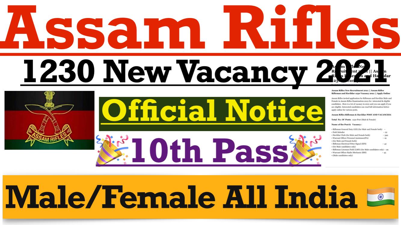 Assam Rifle Recruitment 2021: 1230 Vacancies- Apply Online @assamrifles.gov.in_40.1