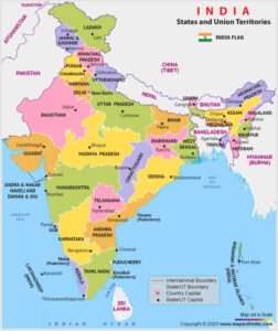 States and Their Capitals, 28 States and 8 Union Territories in India 2021_50.1