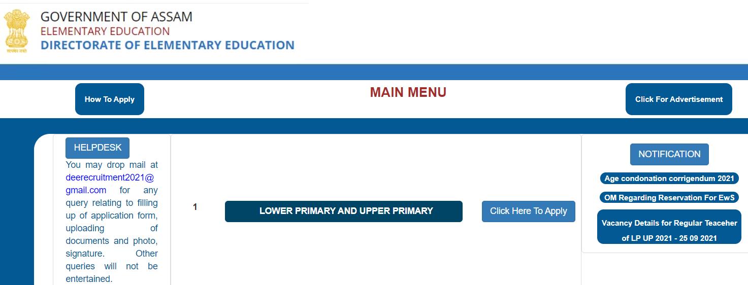 DEE Assam LP UP Teacher Recruitment 2021 OUT : Apply Link Active for 9354 Vacancy_30.1
