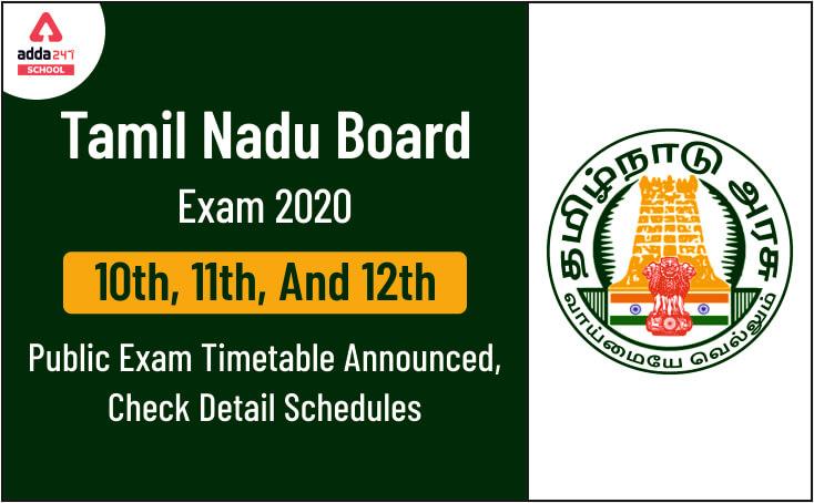 TN Public Exam Time Table 2020