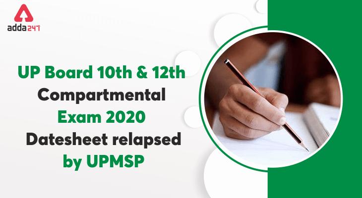 up board class 10 & 12 compartmental exam date sheet 2020