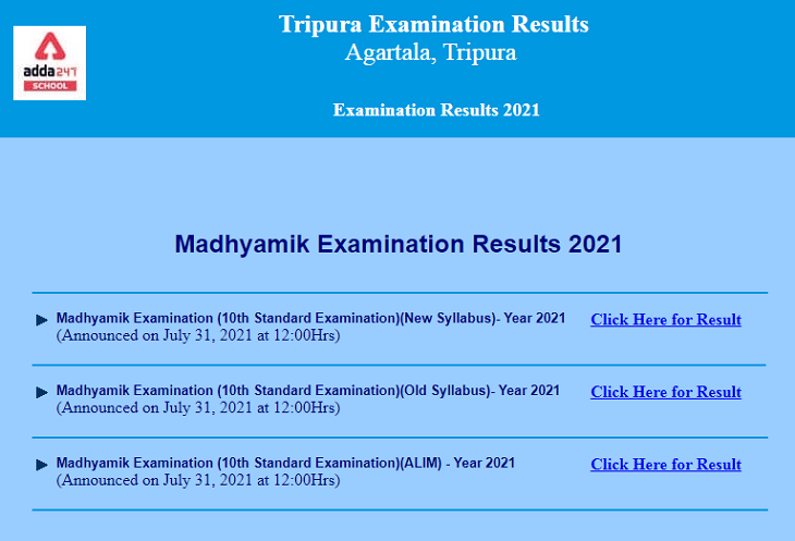 TBSE Madhyamik Result 2021 (Out), Check Here @ tripuraresults.nic.in_30.1