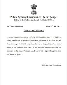 Postponed PSC Exam Till 30 July 2021| Adda247 Bengali_50.1