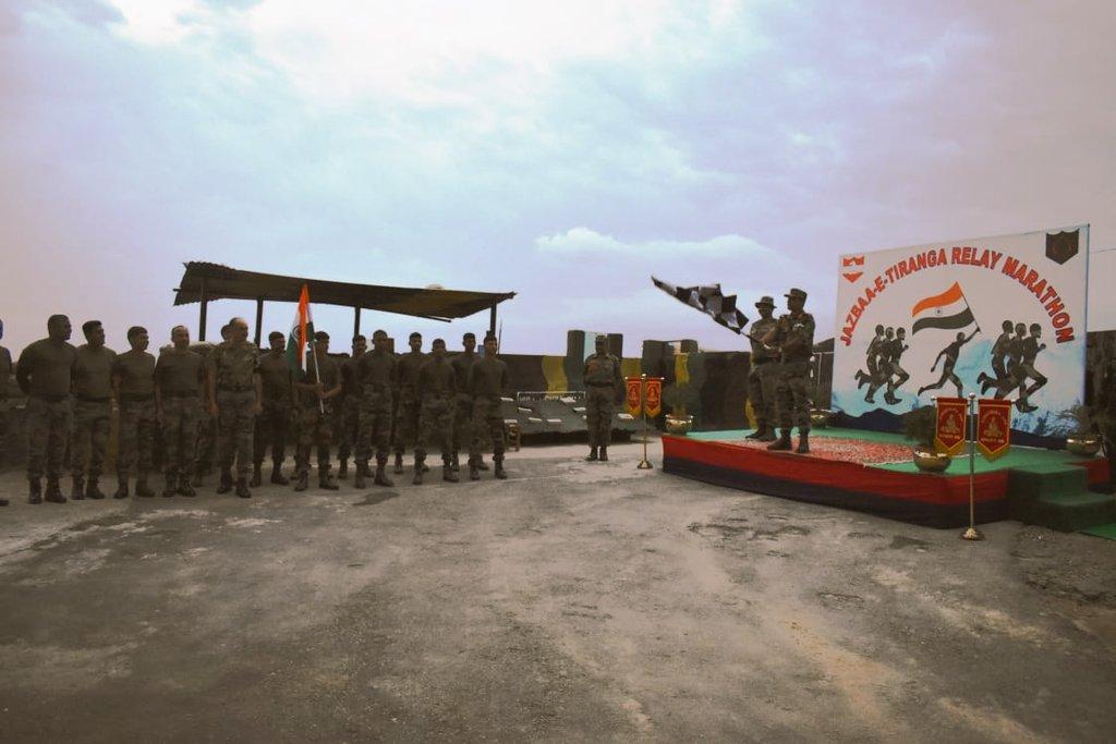 "Army organises 400 Km ""JAZBAA-E- TIRANGA"" Relay Marathon in J&K   সেনাবাহিনী J&K- তে 400 কিমি ""জাজবা-ই-তিরঙ্গা"" রিলে ম্যারাথন আয়োজন করেছে_40.1"