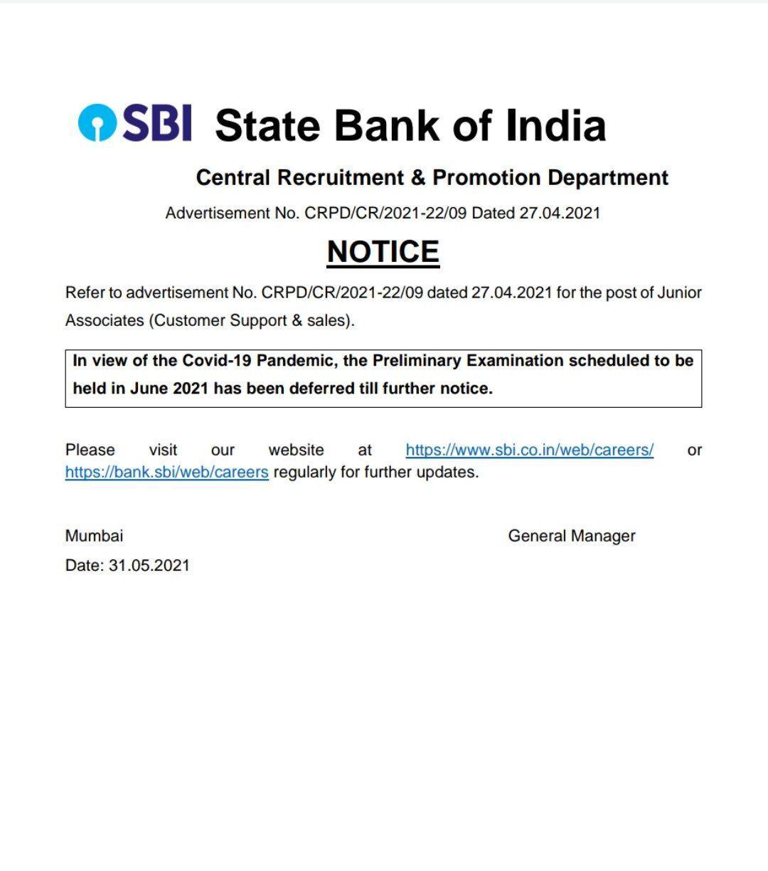 SBI Clerk Prelims 2021 Exam Postponed due to covid-19  _50.1