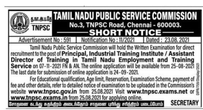 TNPSC Principal / Assistant Director Of training in Tamil Nadu Employment And Training Service Recruitment |_50.1