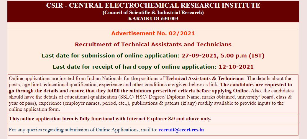 CSIR-CECRI காரைக்குடி ஆட்சேர்ப்பு 2021 | CSIR-CECRI Recruitment 2021 |_50.1
