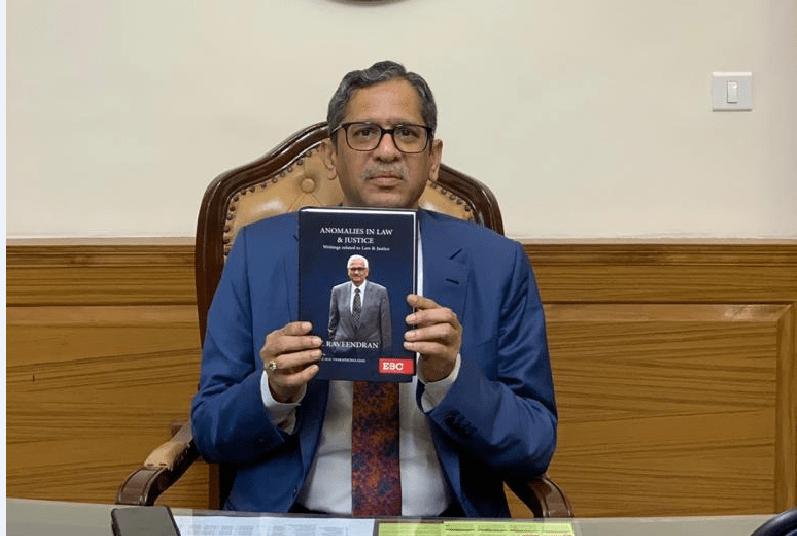 "CJI NV Ramana release a book titled ""Anomalies in Law and Justice"" | CJI ఎన్.వి.రమణ ""అనోమలీస్ ఇన్ లా అండ్ జస్టిస్ "" అనే పుస్తకాన్ని విడుదల చేశారు |_40.1"