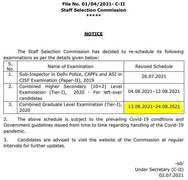 SSC CGL Exam Date 2021 Out: Check SSC CGL 2020-21 Exam Dates   SSC CGL పరీక్ష తేదీ 2021 విడుదల  _50.1